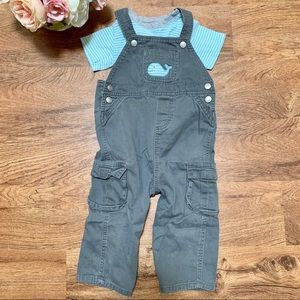 Carter's 2-piece striped whale overall set 24M